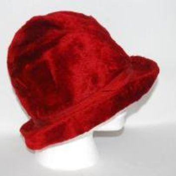 Crimson Red Faux Fur Ladies Brim Hat with Ribbon by thedapperapple
