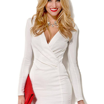 White V-neck Bodycon Dress with Wrap Front