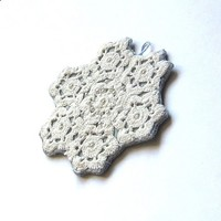 Velvet pendant/ circle/ white doily on aqua