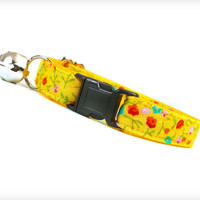 """Cat Collar - """"Florabelle"""" - Dainty Floral Print on Goldenrod Yellow"""