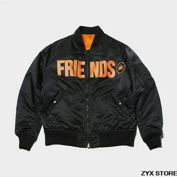 Best Quality Vlone Friends Print Women Men Ma1 Bomber Jacket Coat Hiphop Kanye West Streetwear Vlone Thick Winter Men Jacket