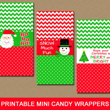 Christmas Candy Bar Labels - Printable Christmas Party Favors Gift - Chevron Mini Candy Wrappers - Chocolate Bar Labels - INSTANT DOWNLOAD