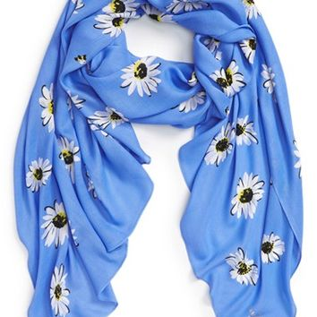 kate spade new york 'falling daisy' oblong twill scarf | Nordstrom