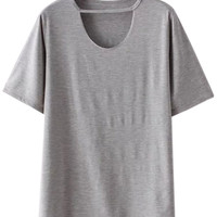Gray Cut Out Short Sleeve T-shirt