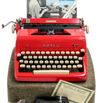 1956 Red Royal Quiet De Luxe Typewriter / Original Manual, Case and Key / New Ribbon / Working Typewriter / Near Perfect Condition