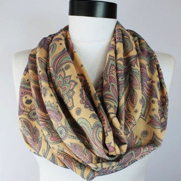 boho cream infinity scarf, scarf, scarves, long scarf, loop scarf, gift