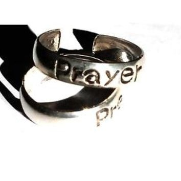 New Sterling Silver toe rings engraved with the word PRAYER