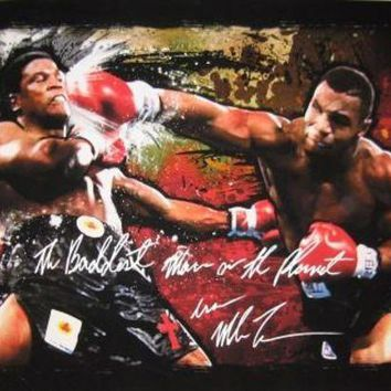 LMFONY Mike Tyson Signed Autographed 'The Baddest Man On The Planet' 24X37 Canvas Print vs. Berbick (ASI COA)