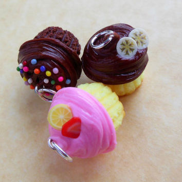 polymer clay cupcake charm trio chocolate with sprinkles strawberry lemon chocolate banana