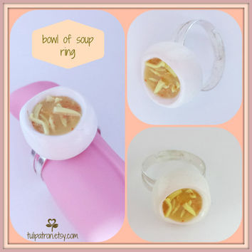 Bowl of Chicken Noodle Soup Adjustable Ring - Polymer Clay