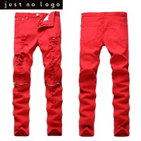 Men Red White Black Skinny Ripped Jeans Hip Hop Zipper Slim Fit Denim Pants Torned Destroyed Straight Trousers for Men Party