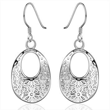silver earing, silver plated fashion jewelry, hollow flower earrings For Women  -0330