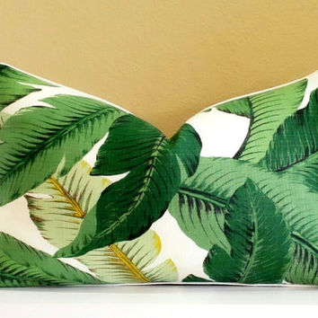Green Lumbar pillow cover -Tropical pillow cover - tropical print on both sides, pick your size