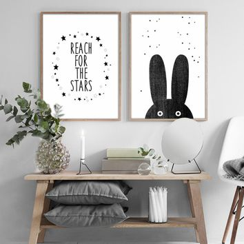 Cartoon Bear Rabbit Canvas Painting Black White Nordic Posters Nursery Wall Art Pictures for Baby Kids Room Home Decor Unframed