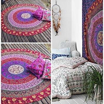 The Janie Round Boho Bohemian Mandala Yoga Wall Table Tapestry