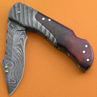 Pre Christmas Sale Custom 100% Handmade & Forged Damascus Steel Dyed Camel Bone Handle Lock Back Hunting Pocket FolderFolding Knife FS46D-2