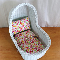Vintage Wicker Doll Bassinet with Mattress, Pillow, and Quilt