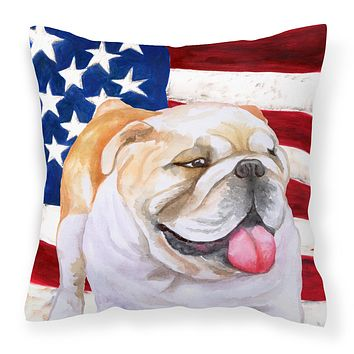 English Bulldog Patriotic Fabric Decorative Pillow BB9639PW1414