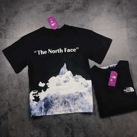 """""""The North Face"""" Unisex Fashion Letter Mountain Print Couple Short Sleeve T-shirt Top Tee"""