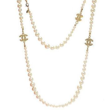 Chanel Woman Fashion Logo Pearls Necklace For Best Gift-4