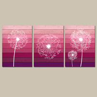 DANDELION Wall Art Canvas or Prints OMBRE Wood Effect Pink Bathroom Wall Art Bedroom Pictures Flower Wall Art Dandelion Set of 3 Home Decor