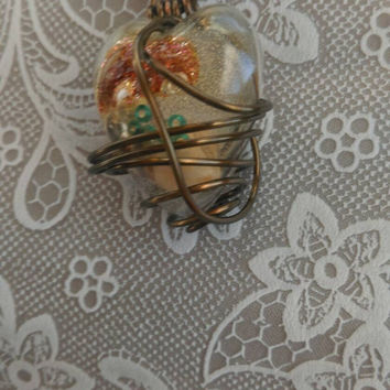 Heart Shaped Resin Pendant Contains Freshwater Sea Shells, Glitter, Glass Beads Copper Wire Wrapped & Leather Necklace