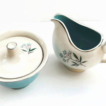 Turquoise & Cream Colored Vintage Cream and Sugar Set - (100.72)