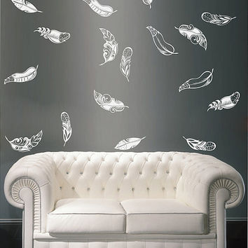 kik1641 Wall Decal Sticker fall feathers circling living children's bedroom