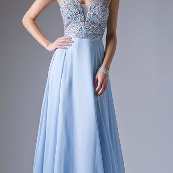 Sky Blue A-line Beaded Long Prom Dress with Strappy Open Back