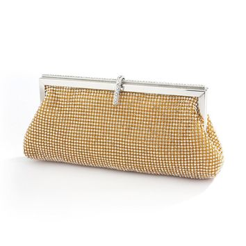 Luxurious Double-Sided Crystal Bridal Evening Bag with Vintage Frame