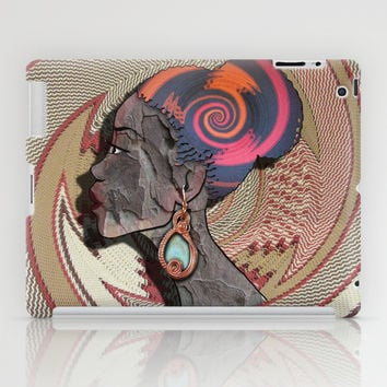 African woman profile on a woven basket iPad Case by Just Kidding