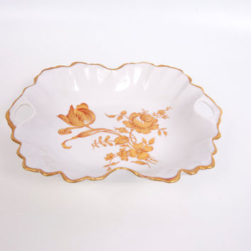 Vintage Limoges Candy Dish 22kt Gold Roses Double Handled Hand Painted Porcelain France Square Bowl