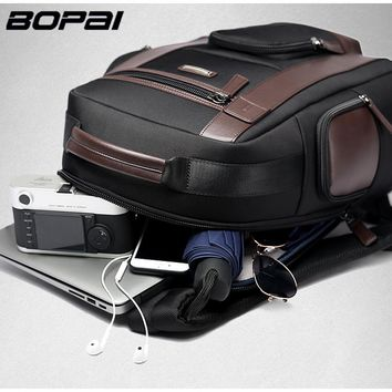 BOPAI Large Capacity Laptop Backpack Anti Theft USB Charging Fashion Men Shoulders Bag Travel Backpack Waterproof School Bags