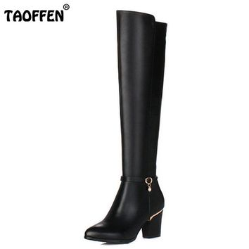 TAOFFEN Women Genuine Leather Over The Knee Boots Winter Boots Sexy Square Heel Fashion Pointed Toe Women Boots Shoes Size 34-39