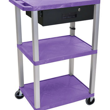 H. Wilson 3 Shelf Multipurpose Mobile Utility Cart With Locking Pullout Drawer Purple Nickel