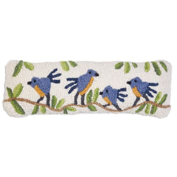Blue Birds On A Branch Hooked Wool Pillow