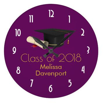 Graduation Cap and Diploma on Purple Class of 20XX Large Clock