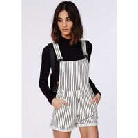 Missguided - Stripe Dungaree Romper Cream