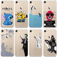 """Cute Minions Olaf For iphone 7 Case 4.7"""" Soft TPU Transparent Silicone for Apple iPhone 7 Plus 7plus Case 5.5"""" Phone Cover"""