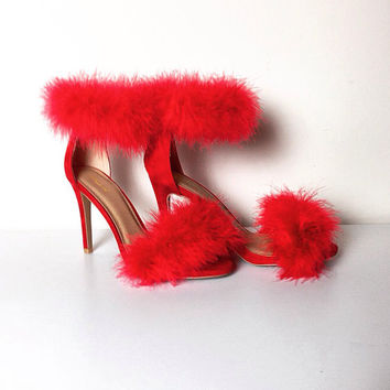 FURRY Cherry Red Double Trouble FUR HEELS