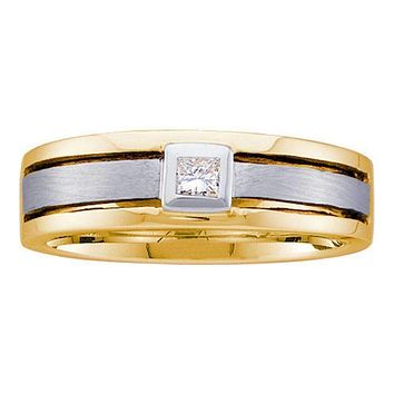 14kt Two-tone Gold Men's Princess Diamond Wedding Band Ring 1/6 Cttw - FREE Shipping (US/CAN)