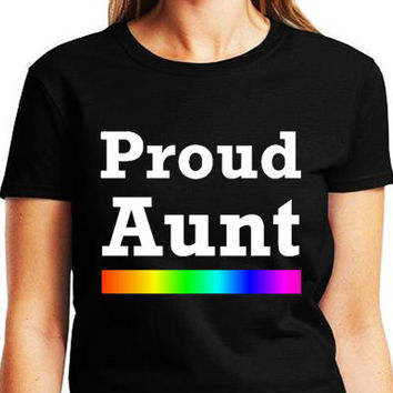 Proud Aunt LGBT Family Equality T-shirt Collection Black Tee