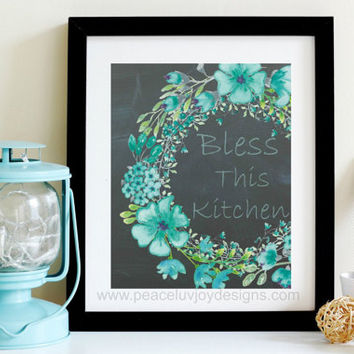 "Kitchen Art, ""Bless This Kitchen"",  8x10 ,  Kitchen Art Print, Kitchen Wall Art, Seafoam Green,  Watercolor Floral Art, Green Floral  Print"