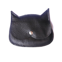 Black Laether Cat coin purse, mini pouch, made to order