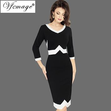Vfemage Women Autumn Elegant 3/4 Sleeves Geometric Patchwork Contrast Slim Business Work Office Party Bodycon Pencil Dress 7922