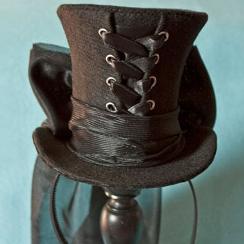 Cunene Goth Black Ribbon Corset Mini Top Hat by cunene on Etsy
