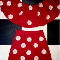 SWEET LORD O'MIGHTY! DAISY OFF SHOULDERS IN RED