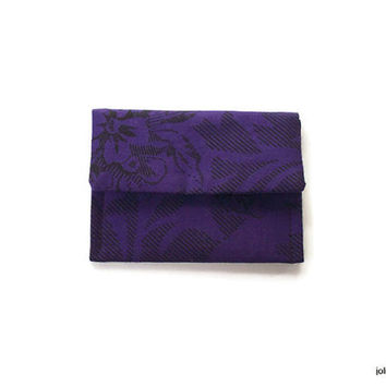 Purple Rose on Black Mini Pocket Jewelry Pouch
