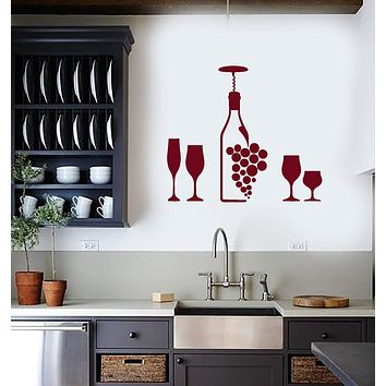 Vinyl Wall Decal Wine Bottle Grape Glasses Bar Dining Room Home Interior Stickers Mural (ig5692)