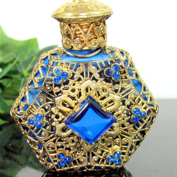 Vintage CZECH COBALT JEWELED Miniature Perfume Bottle Blue Glass Gold Filigree